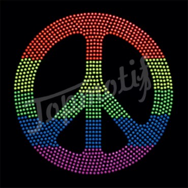 Wholesale rainbow peace sign rhinestone heat transfers