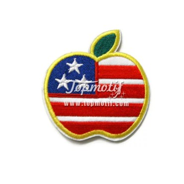 USA Apple Flag Embroidery Patches For Clothing