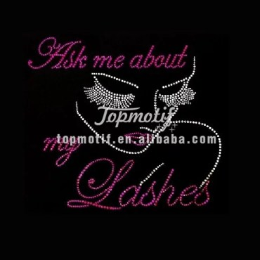 ask me about the lashes t-shirt iron on transfer rhinestone