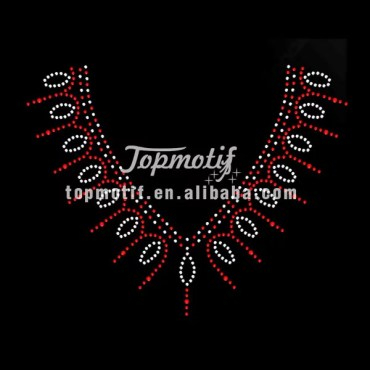 Korean Hotfix Rhinestones Beauty Necklace Designs For Shirts