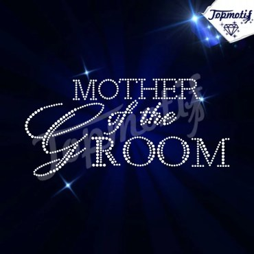 Crystal Diamante Mother Of The Groom Iron On Bride Rhinestone Motif Transfer For Dresses