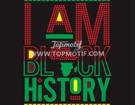 Heat  Transfer I am Black History Rhinestone Transfer Design