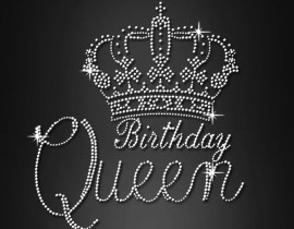 birthday queen crystal heat transfer motif apparel