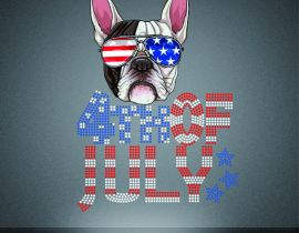 Wholesale rhinestone printing 4th of july dog pattern design