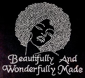 Beautifully And Wonderfully Made Afro Lady Rhinestone Transfer