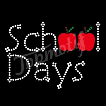 Red Apples Heat Transfer Vinyl School Days Iron On Rhinestone Appliques