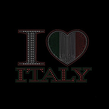 wholesale rhinestones i love italy iron on shirt decals