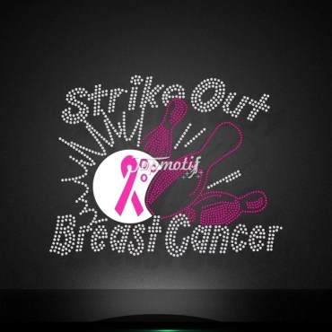 Strike out breast cancer iron on rhinestone applique wholesale
