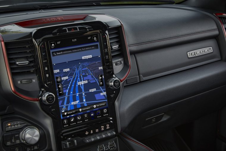 2019 Ram 1500 Rebel 12 with Uconnect 4C NAV and 12-inch touchscreen