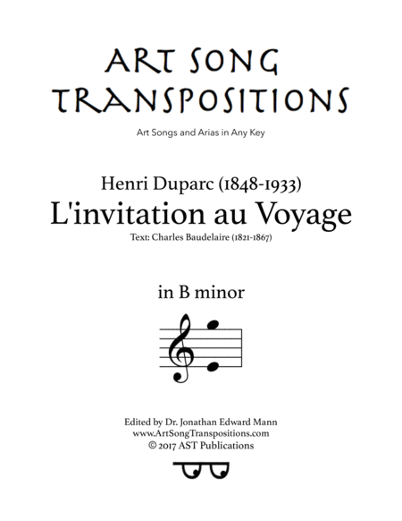l invitation au voyage b minor music sheet download topmusicsheet com