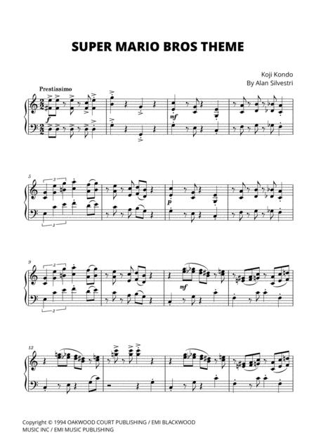 Super Mario Bros Theme For Piano Music