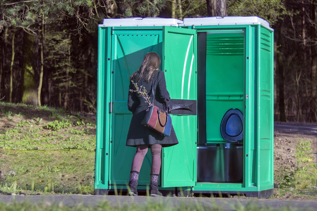 Something is. Girl pee standing outdoors are not
