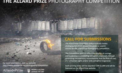 Allard Prize Photography Competition 2018 (Winners receive CAD $1,000)