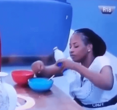 Cindy washing hand in food bowl