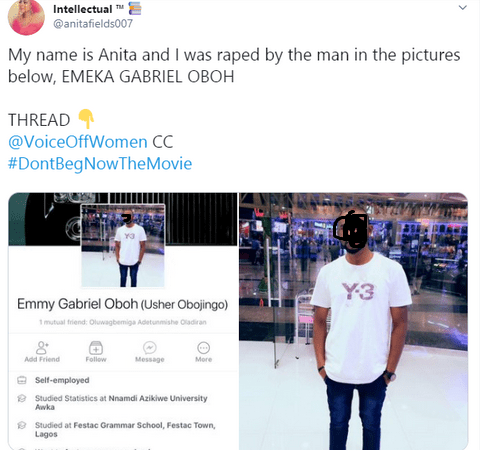 Nigerian lady calls out coursemate who alleged raped her