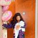 Laura Ikeji shows off face of her newborn daughter