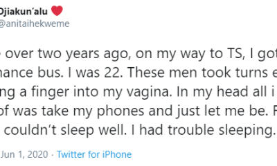 How hoodlums took turns to molest me - Twitter user recounts topnaija.ng