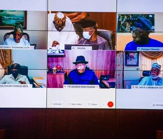 President Muhammadu Buhari is currently in a virtual meeting with former Nigerian leaders and security chiefs.