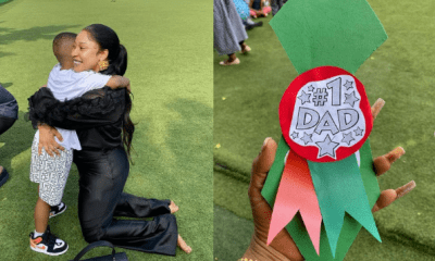 Actress, Tonto Dikeh visits her son in school to stand in for celebration of Father's day