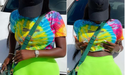 Popular Big Brother Naija star, Khloe got social media users tensioned this afternoon after she shared these photos flashing her camel toe.