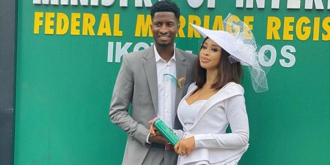 Former beauty queen Yetunde Barnabas ties the knot with footballer Olayinka Peter