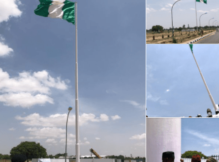 Information Minister, Lai Mohammed, inspects tallest Nigerian flag pole erected in Jigawa (photos)