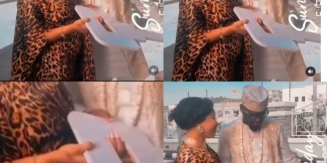 Tonto Dikeh gifts her man, Prince Kpokpogri, keys to an expensive gift......looks like she is pregnant (video)