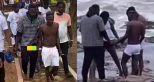 Shatta Wale and Medikal go for 'sea bath ritual' after release from prison (WATCH)