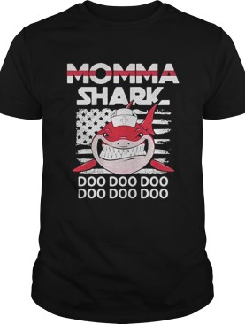 Momma shark nurse American flag shirt