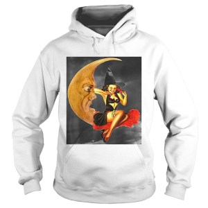 Nice Vintage Pin Up Girl Witch on Moon Halloween  Hoodie