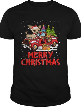 Chihuahua Rides Red Truck Merry Christmas Pajama shirt
