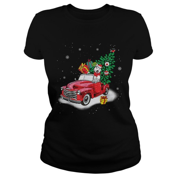 Husky Rides Red Truck Christmas Tree Xmas Gifts  Classic Ladies