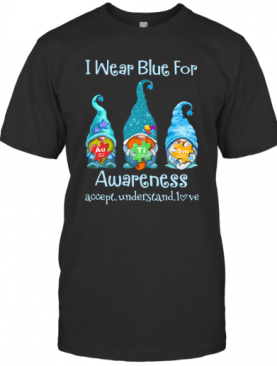 Gnomes I Wear Blue For Awareness Accept Understand Love Elements T-Shirt