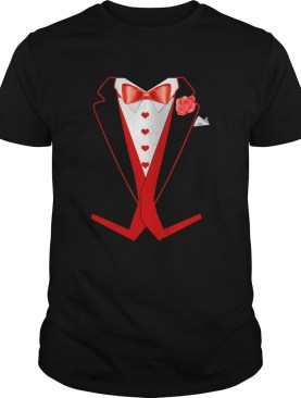 Tuxedo Red Hearts Cool Funny Valentines Day shirt