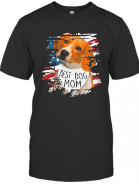 Beagle Best Dog Mom American Flag Independence Day T-Shirt