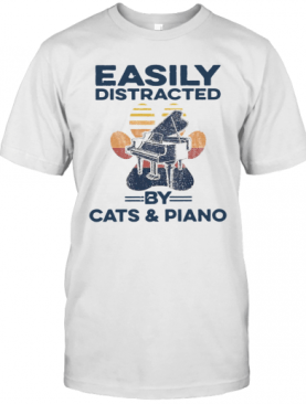 Easily Distracted By Cats And Piano Vintage T-Shirt