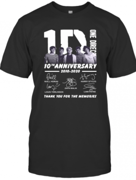 One Direction 10Th Anniversary 2010 2020 Thank You For The Memories Signatures T-Shirt