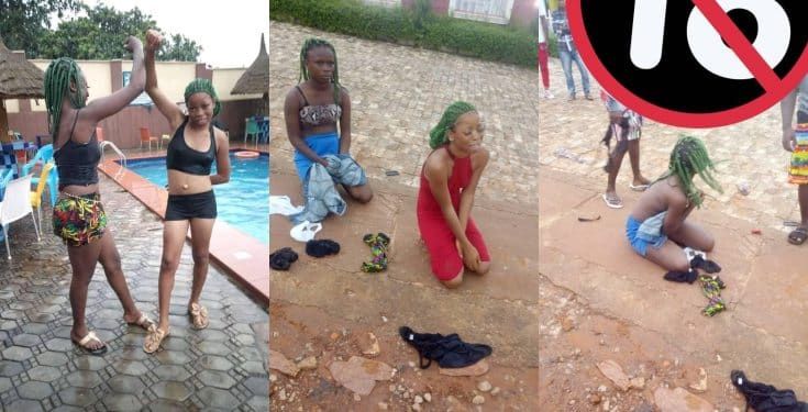 Two young girls punished for impersonating the Black Axe Confraternity