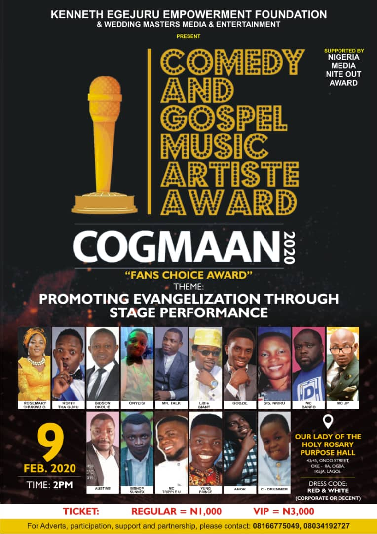 COGMAAN, Comedy and Gospel Music Artiste Award Voting Commences Today