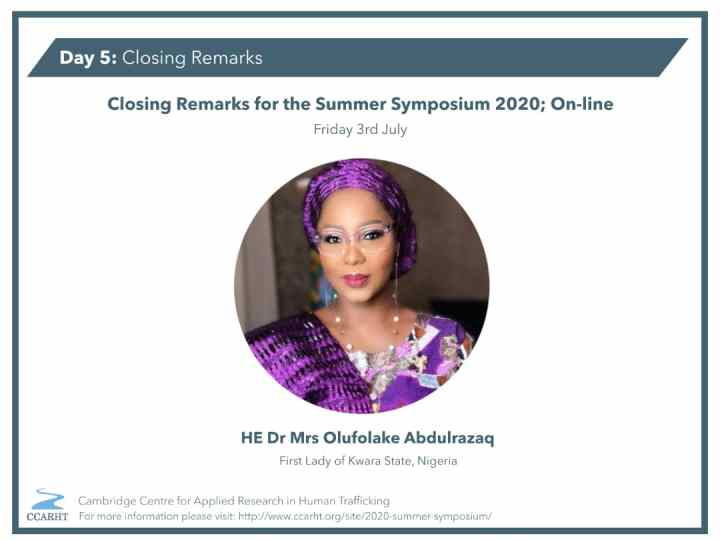 The Cambridge Centre for Applied Research on Human Trafficking Summer Symposium, Day 5 – Kwara First Lady advocates for Youth involvement to get rid of the menace