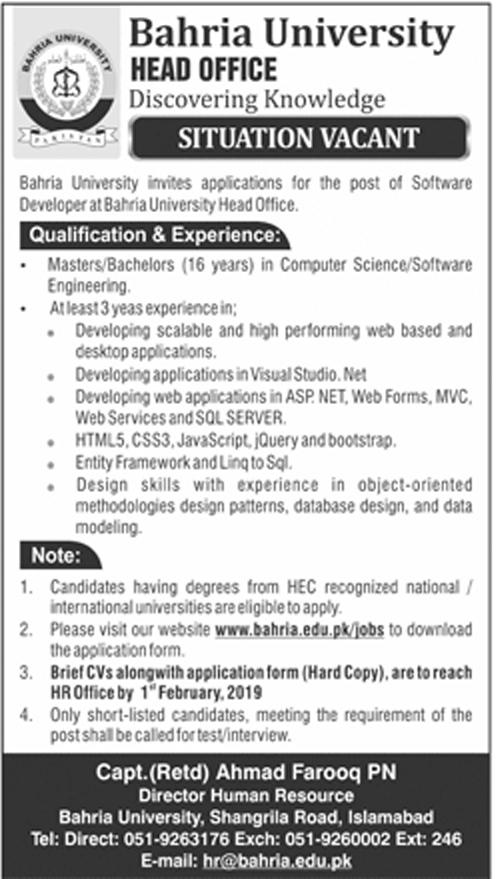 Jobs in Bahria University 2019