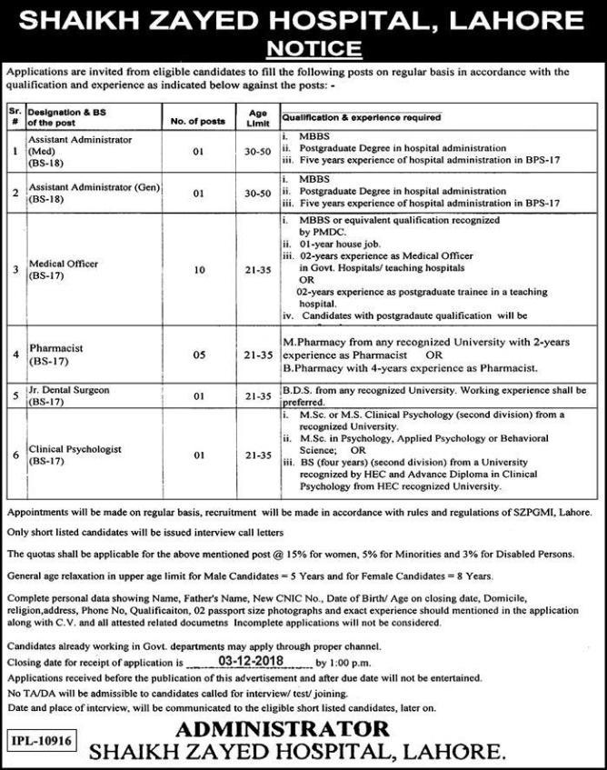 Jobs in Shaikh Zayed Hospital Lahore 2019