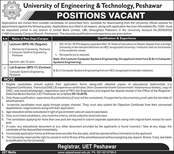 Jobs in University of Engineering and Technology 2019