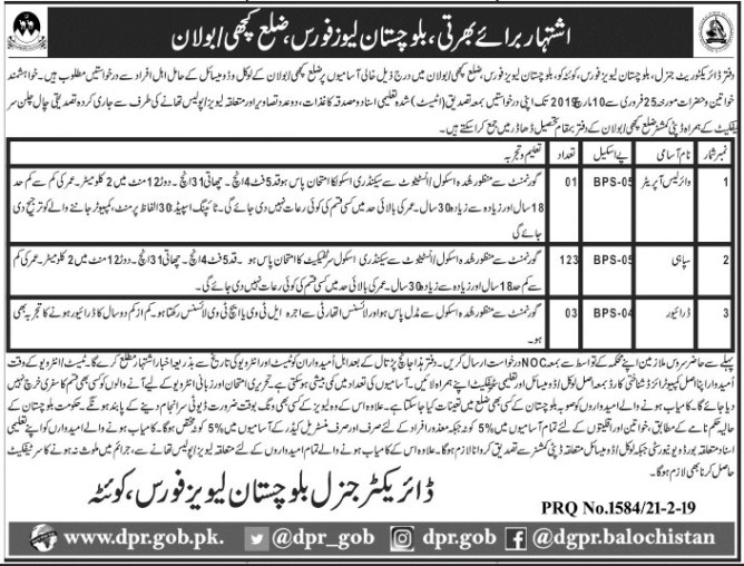Jobs in- alochistan Levies Force 2019