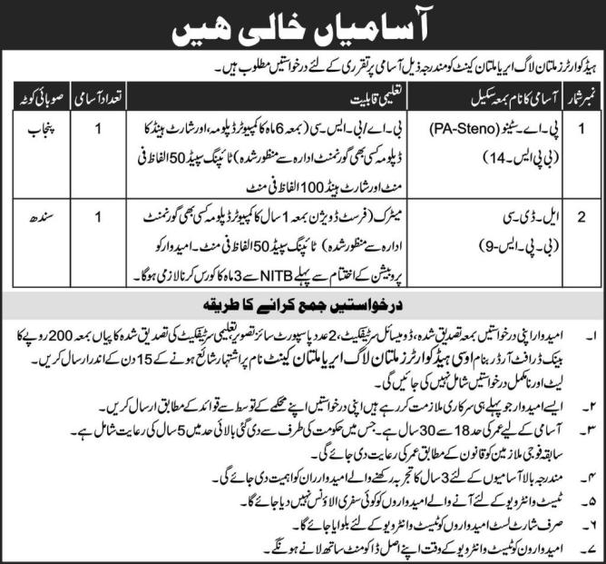 Jobs in pak army 2019