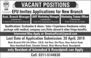 jobs in EFU Life Assurance 2019