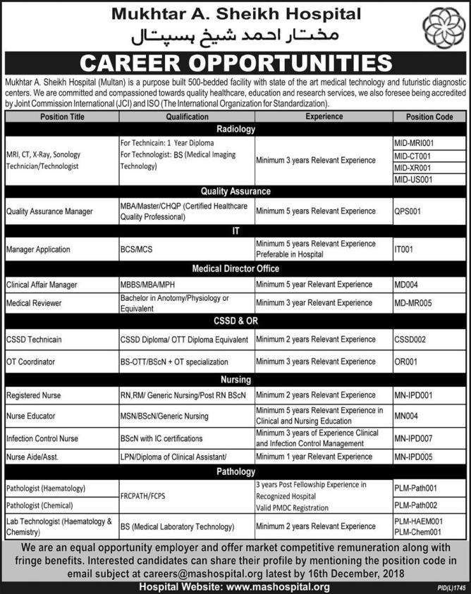 jobs in hospital 2019