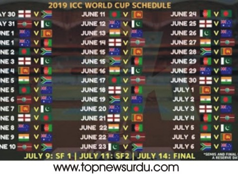world cup schedule 2019
