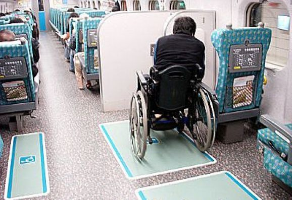 You may choose to stay on your motorized wheelchair or shift to the seat next to you on HSR.