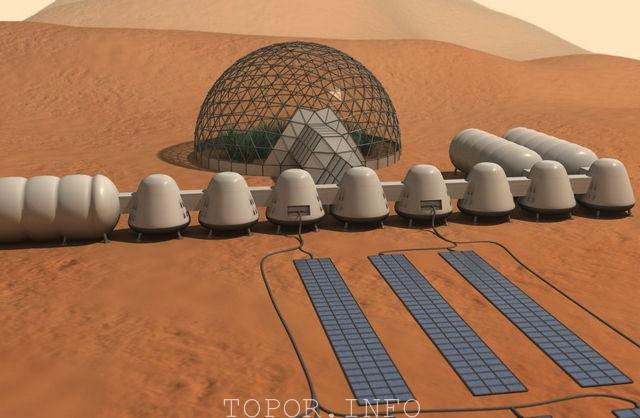 Марсианская база с жилыми модулями и теплицей